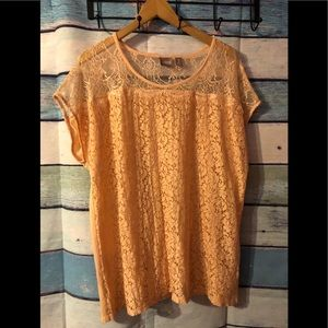 Chico's peach lace top size 3 which is a XL
